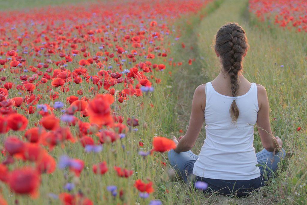 meditazione in campo di tulipani